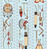 Seamless mönstra med indianattribut a Arkivbild