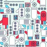 Den seamless vintermittenssnowflaken mönstrar Arkivbild