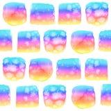 Den Seamlessl modellen med vattenfärgregnbågen färgade vibrerande elemen Arkivbilder