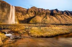 Den Seljalandfoss vattennedgången och en liten vattennedgångframsida till solnedgången med det bruna gräset i Island arkivfoto