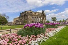 Den Semper operahuset av Dresden Arkivfoto