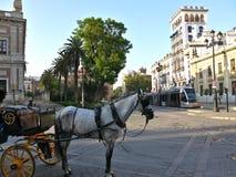 Den senaste elektriska spårvagnen och en häst och en barnvagn arkivfoto