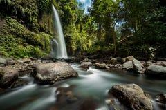 Den Sendang Gile vattenfallet är en bedöva vattenfall på Lombok, Indonesien Arkivbilder