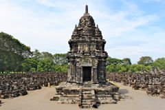 Den Sewu templet är det andra - största komplexet för den buddistiska templet i Java arkivbilder
