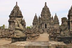 Den Sewu templet är det andra - största komplexet för den buddistiska templet i Java; arkivbild