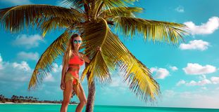 den sexiga blonda flickan p? stranden med g?mma i handflatan och bl? himmel royaltyfri fotografi