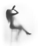 den sexiga flaskdrinken sitter kvinnan Fotografering för Bildbyråer