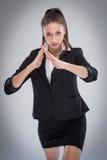 Den sexiga kvinnan i karate poserar Fotografering för Bildbyråer