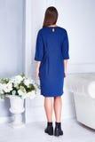 Den sexiga skönhetkvinnamodellen står tillbaka kläderblåttmode Royaltyfria Bilder