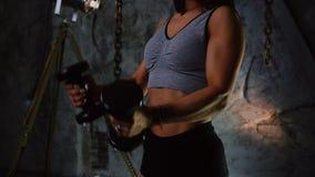 Den sexiga sportiga flickan i korta kortslutningar och blåst upp press med hantlar på bakgrunden av en stengrå färgvägg lyfter in stock video