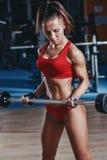 den sexiga unga friidrottflickan som gör bicepsskivstångkrullningen, övar i idrottshall royaltyfria foton