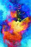Den Shamanic flickan med ramvalsen på abstrakt begrepp strukturerade utrymmebakgrund Brandbeståndsdel Royaltyfri Bild