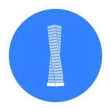 Den Shanghai tornsymbolen i svart stil som isoleras på vit bakgrund Arabisk illustration för vektor för emiratsymbolmateriel Arkivbilder