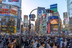 Den Shibuya korsningen är en av de mest upptagna övergångsställena i världen royaltyfri bild