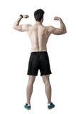 Den Shirtless idrottsman nen som tillbaka böjer, knuffar, och armar tränga sig in bakre sikt royaltyfri foto