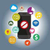 Den Signes symbolen gör inte med funktionsmobiltelefonen Arkivfoton