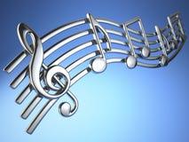 Den silvermusikanmärkningar och G-klav på musikal stränger på blåa lodisar stock illustrationer