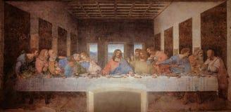 Den sista kvällsmålet av Leonardo da Vinci i matsalen av kloster av Santa Maria delle Grazie, svartvita Milan arkivbilder