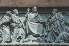 Den sista kvällsmålet, Jesus statyn av en freskomålningmålning på en sten royaltyfria bilder