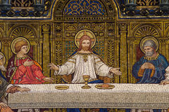 Den sista kvällsmålet (mosaiken) Royaltyfri Bild