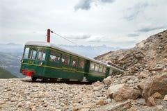 den sista stationen Mont Blanc Tramway på 2386 metrar Nid d'Aigle royaltyfria bilder