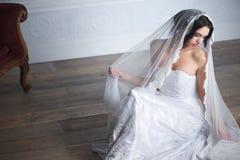 Den sittande bruden med skyler Royaltyfri Fotografi