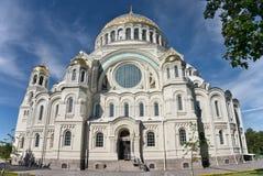 Den sjö- domkyrkan av St Nicholas i Kronstadt Fotografering för Bildbyråer