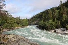 Den Sjoa floden nära det Sjoa kajaklägret Royaltyfria Bilder