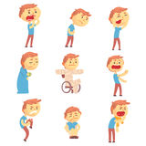 Den sjuka manuppsättningen av folk med smärtar och sjukdomar Färgrika illustrationer för vektor för tecknad filmtecken royaltyfri illustrationer