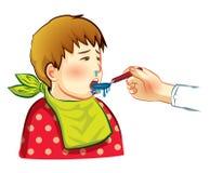 Den sjuka pojken äter drogen Arkivbild