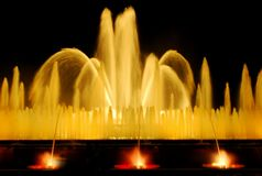 Den sjungande springbrunnen i Barcelona Fotografering för Bildbyråer