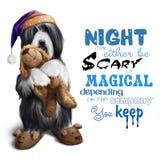 Den skäggiga collien i ett nattlock med en leksak i hans tafsar Royaltyfri Bild