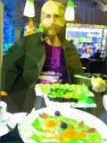 den skäggiga mannen äter sushi och rullar stock illustrationer