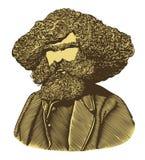Den skäggiga mannen med långt hår i tappning inristade stil Arkivfoton