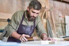 Den skäggiga snickaren Sanding Wood shoppar in Royaltyfri Foto