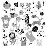 Den skandinaviska modellen för ungeklotterbeståndsdelar ställde in av gulligt monokromt löst djur och tecken: sebra björn, hjort, royaltyfri illustrationer