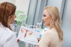 Den skickliga kvinnliga doktorn konsulterar hennes patient arkivbild