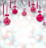 Den skimrande ljusa tapeten med gran förgrena sig och julrosa färgbollar royaltyfri illustrationer