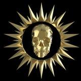 Den skinande guld- metallskallen på den matte guld- plattan med grova spikar omkring, isolerad svart, piratkopierar vapnet framfö Royaltyfri Fotografi