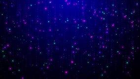 Den skinande partikelanimeringen ser som fallande stjärnor eller regn på blå bakgrund royaltyfri illustrationer