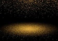 Den skinande stjärnan bristnings somljus med guld blänker, mousserar Lyxig design för glänsande rörelse Magisk guld- ljus effekt  Royaltyfri Bild