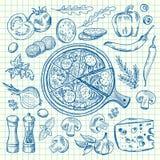 Den skissade vektorn drog upp konturerna av italienska pizzaingridients på anteckningsbokcellarket stock illustrationer