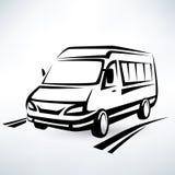 Den skisserade mini- skåpbilen skissar Arkivfoton