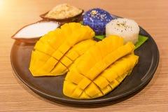 Den skivade mango tjänade som med klibbiga ris, och kokosnöten mjölkar, berömd Royaltyfri Foto