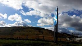 Den skotska flaggan på gränsen Royaltyfria Bilder