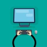 Den skrivbords- moderna datorarbetsstationen räcker maskinskrivningtangentbordet royaltyfri illustrationer