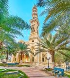Den skuggiga trädgården på Abu al-Abbas al-Mursi Mosque, Alexandria, Eg. Royaltyfri Bild