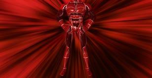 Den slående djärva röda superheroen poserar bakgrundsillustrationen Royaltyfri Bild