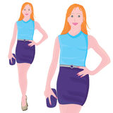 Den slanka flickan poserar royaltyfri illustrationer
