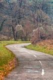 Den slingriga vägen buktar till och med höstträd. Royaltyfri Foto